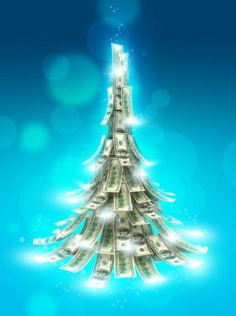 Photo pour Billets en dollars faits comme arbre de Noël sur fond bleu - image libre de droit