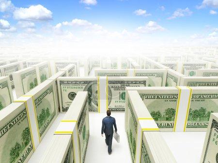 Foto de Pueblos de negocios en laberinto laberinto financiero de billetes de 100 dólares. renderizado 3d de alta resolución. - Imagen libre de derechos