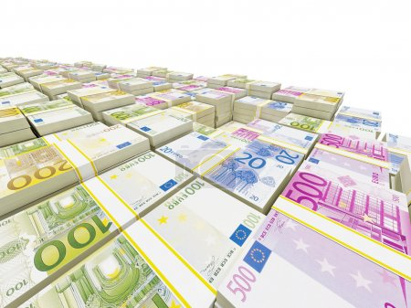 Photo pour Gros plan des billets en euros - image libre de droit