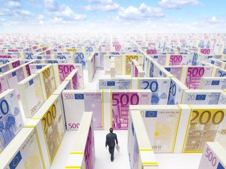 Businessman in Financial Maze Labyrinth