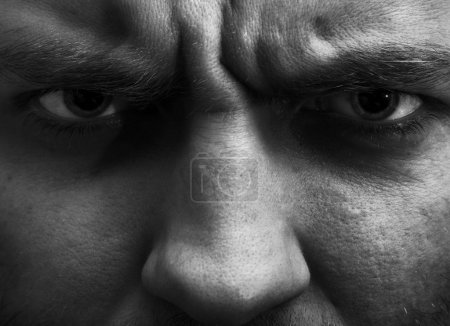 Photo for Close-up portrait of angry man. In B/W - Royalty Free Image