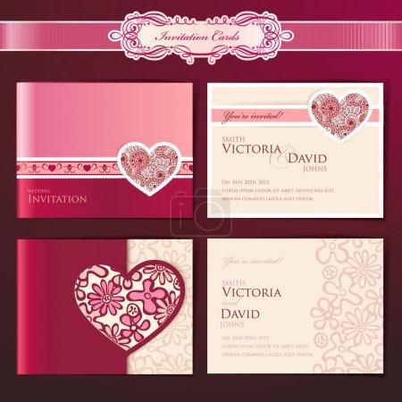 Foto de Conjunto de tarjetas de invitación de boda, vector plantillas - Imagen libre de derechos