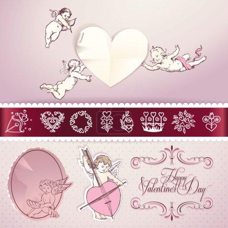 Illustration pour Ensemble d'éléments vectoriels d'amour pour la Saint-Valentin, mariage, lettre d'amour, web et imprimés - image libre de droit