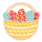 Easter basket isolated on white Patchwork series Vector illustration