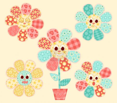 Illustration for Application flowers set. Patchwork series. Vector illustration. - Royalty Free Image