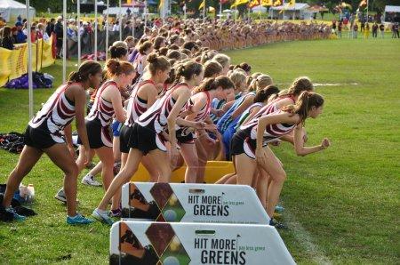 Minnesota High School Girls Perpare to Start the Roy Griak Invitational Cro