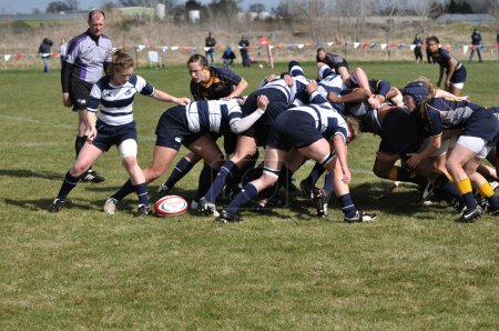 A Scrum in a Women's College Rugby Match