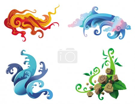 Illustration for The Four Elements of nature, fire, air, water and earth, vector illustration - Royalty Free Image