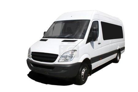 Photo pour Minibus blanc isolé sur blanc - image libre de droit