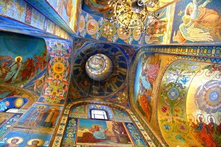 Photo pour Intérieur de l'église du Sauveur sur le sang déversé à Saint-Pétersbourg, Russie - image libre de droit