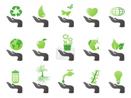 Hand with green eco icons