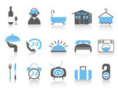 Isolated simple hotel icons with black and blue color from white background