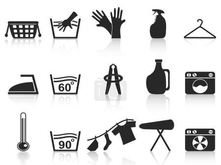 Photo for Isolated black laundry icons set on white background - Royalty Free Image