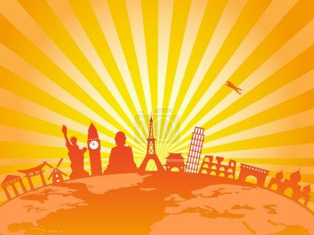 Travel around the world on golden sunburst background