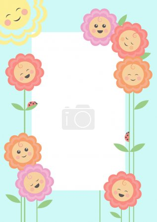 The vector image of smiling flowers and the sun round a framework. The different graphics are all on separate layers.