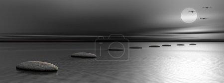 Photo pour Gris pierres étapes sur l'océan va vers la lune et les oiseaux de nuit - image libre de droit