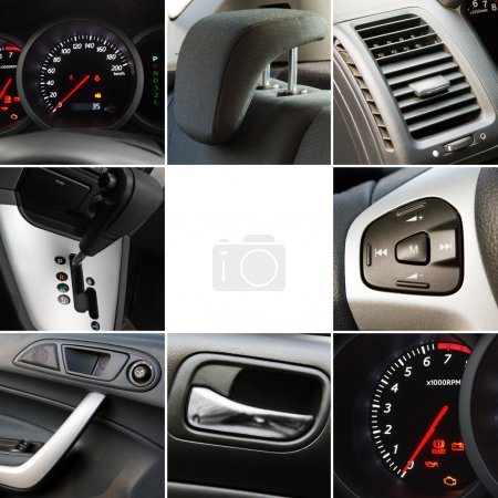 Collage of car interior details