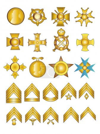 Military Badges Medals and Rank Chevrons Illustrat...