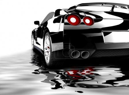 Photo pour Une voiture noire moderne reflète sur l'eau - image libre de droit