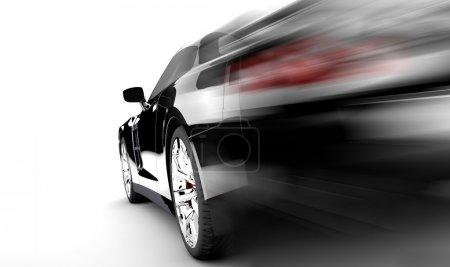 Photo pour Une voiture noire moderne et élégante est en cours d'exécution - image libre de droit