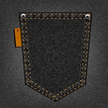 Ilustración de Bolsillo negro sobre un fondo de los pantalones vaqueros - Imagen libre de derechos