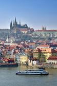Prague Castle, Vltava river and Charles Bridge
