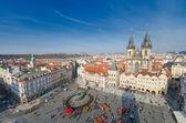 Panorama of Staromestska square and Maria Church, Prague, Czech Republic