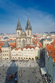 Aerial view of Old Town Square in Prague from the top of the town hall