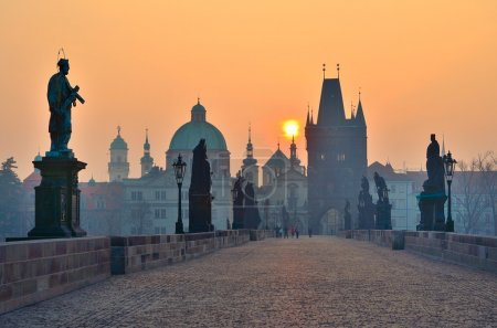 Sunrise over Prague - look from charles bridge