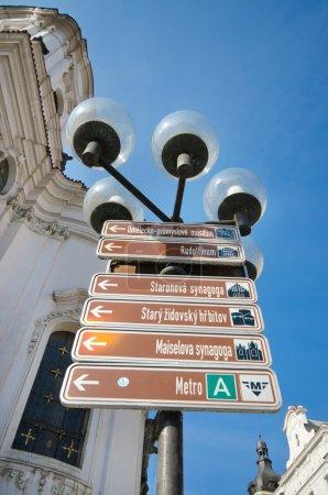 Information street sign in Prague, Czech Republic