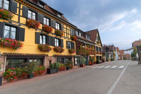 Typical Street with half-timbered houses, Alsace