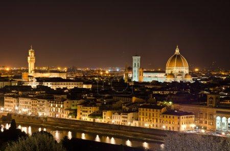 Night view to Florence skyline, Tuscany, Italy