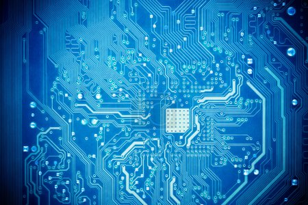 Photo for Blue circuit board as abstract technology background - Royalty Free Image