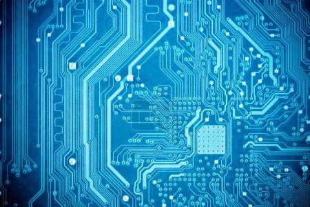 Photo pour Gros plan du circuit imprimé bleu - image libre de droit
