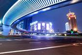 Modern city at night in shanghai