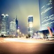 Night view of the century avenue in shanghai,China...