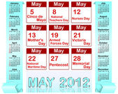 Holiday icons calendars for may 2012