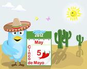 Cinco de Mayo Blue Bird with a calendar
