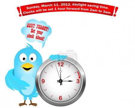 Daylight saving time begins. Blue Bird.