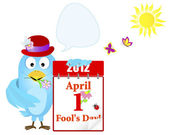 April fools' day Blue Bird in a hat with a calendar and speech bubble against sun and butterflies Vector 10eps