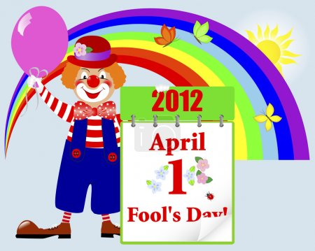 Illustration for April fools' day. Cute clown in a hat with a calendar against rainbow and butterflies. Vector illustration. - Royalty Free Image