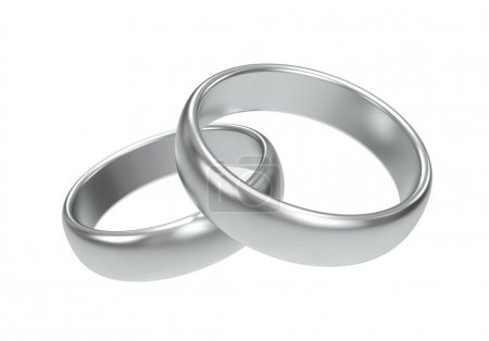 Photo for Silver wedding rings on white background - Royalty Free Image