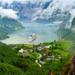 Mountain lake with ship. Norway, Geiranger