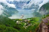 Mountain lake with ship