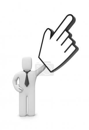 Businessman with hand cursor