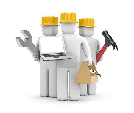 Repair team with notebook