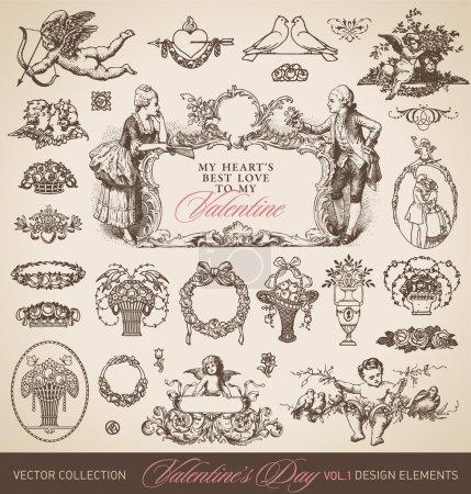 Illustration pour Ensemble d'éléments de design de la Saint-Valentin antique, illustration vectorielle évolutive et modifiable - image libre de droit