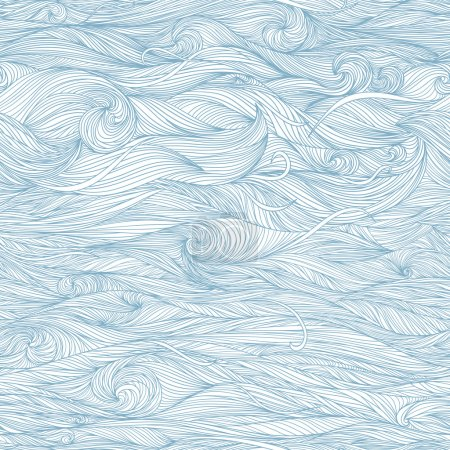 Illustration for Abstract blue hand-drawn pattern, waves background. Seamless pattern can be used for wallpaper, pattern fills, web page background, surface textures. - Royalty Free Image