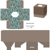 Favor box die cut Floral pattern Empty label