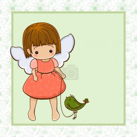 Illustration pour Fille de l'ange. Cupidon. - image libre de droit